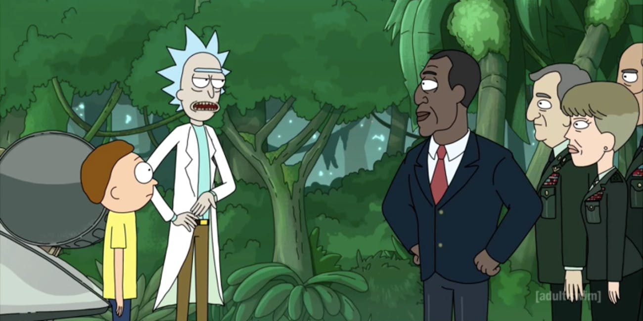 Rick and Morty break up with the President.