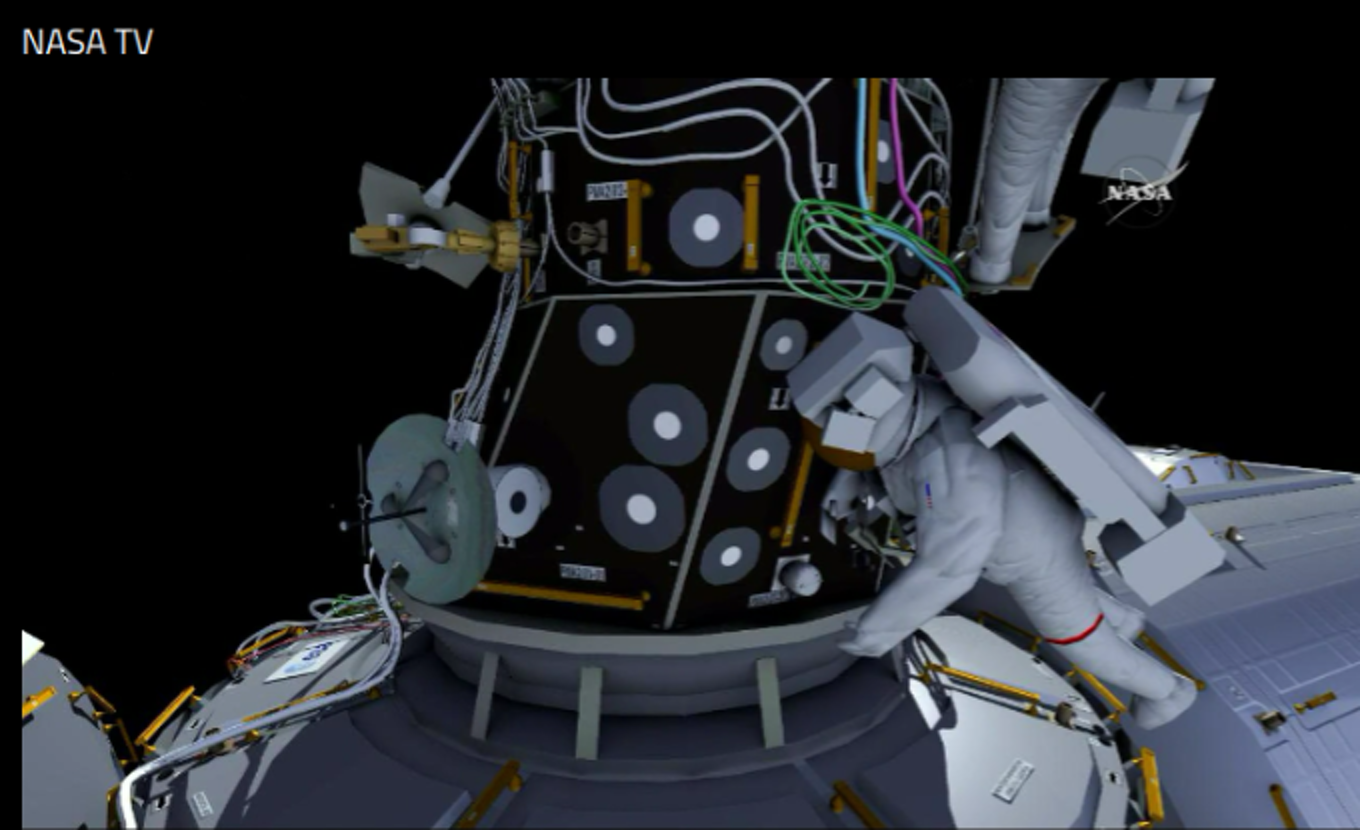 A rendering of astronaut Jeff Williams as he performs the upcoming ISS spacewalk.