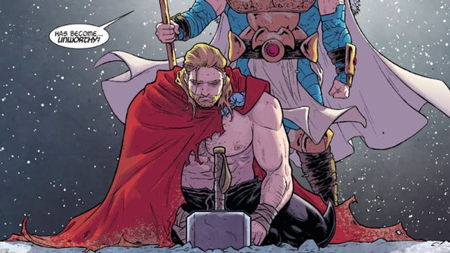 Sad Thor in Marvel's 'Unworthy Thor' comics