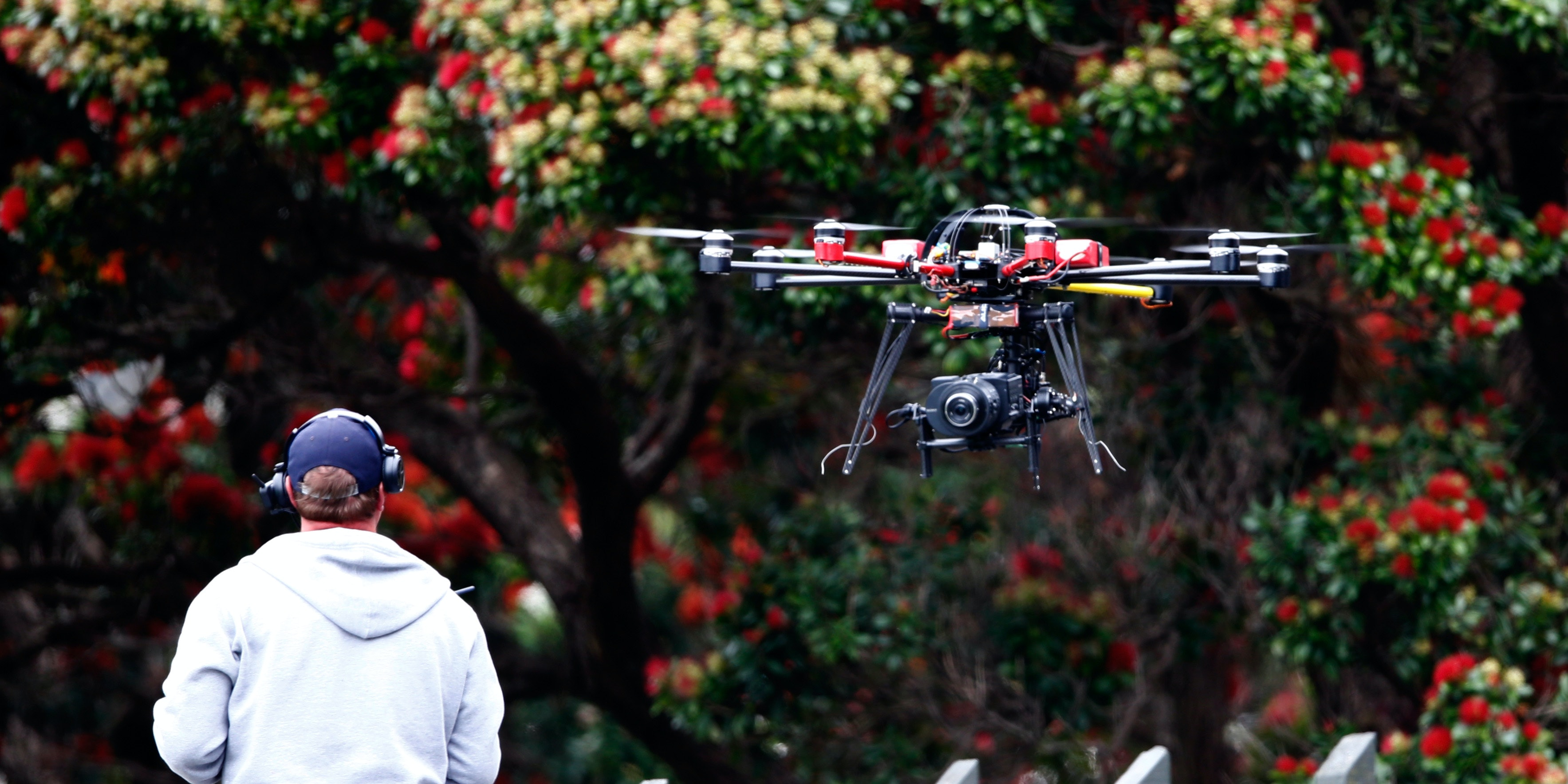 The Sky TV drone camera operator during day four of the Second Test match between New Zealand and Sri Lanka at Basin Reserve on January 7, 2015 in Wellington, New Zealand.