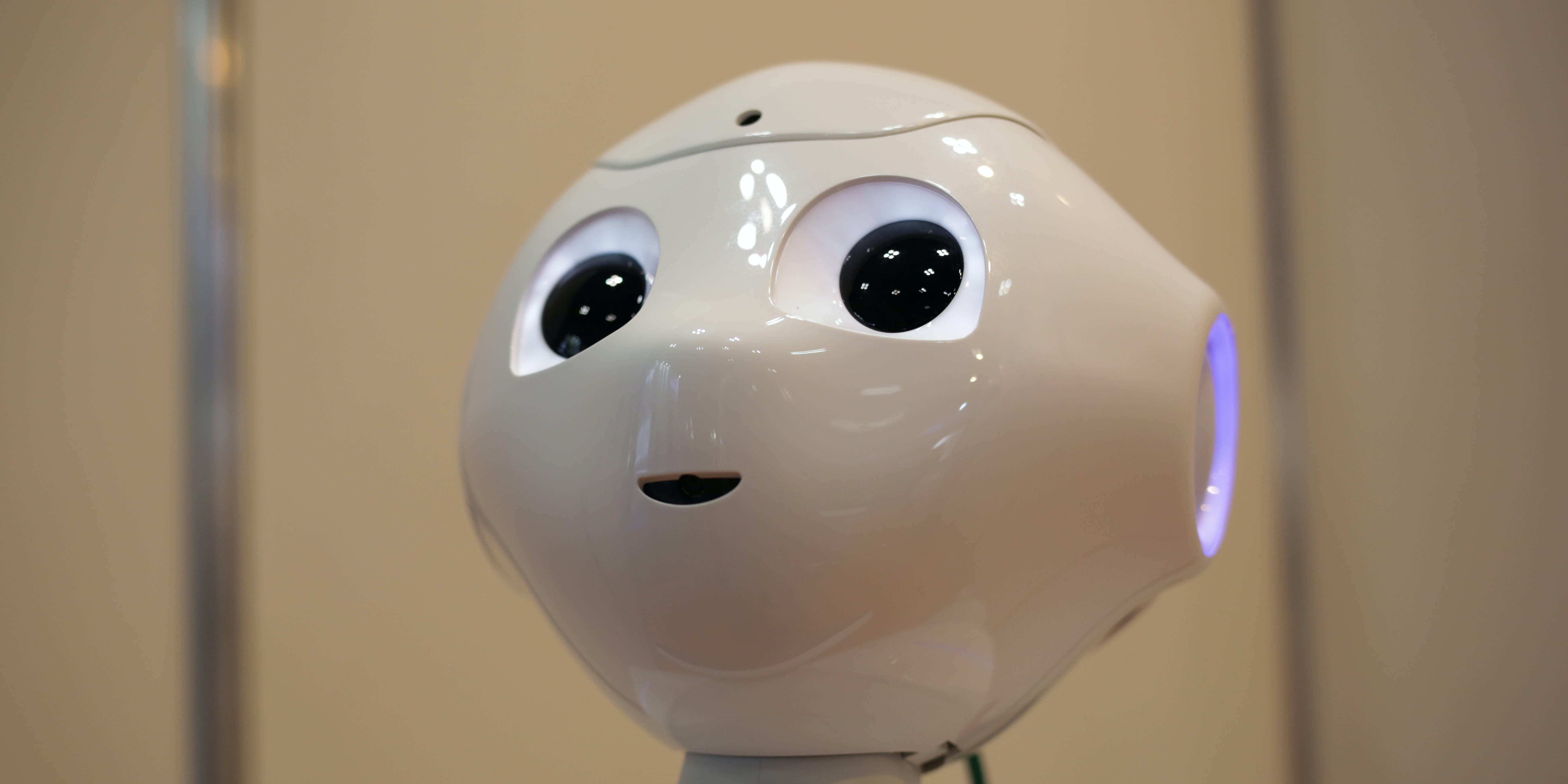 TOKYO, JAPAN - OCTOBER 19: Pepper Robot, developed by Softbank talks to the guests during the Japan Robot Week 2016 at Tokyo Big Sight on October 19, 2016 in Tokyo, Japan. At this biennial event, the participating companies exhibit their latest service robotic technologies and components. (Photo by Taro Karibe/Getty Images)