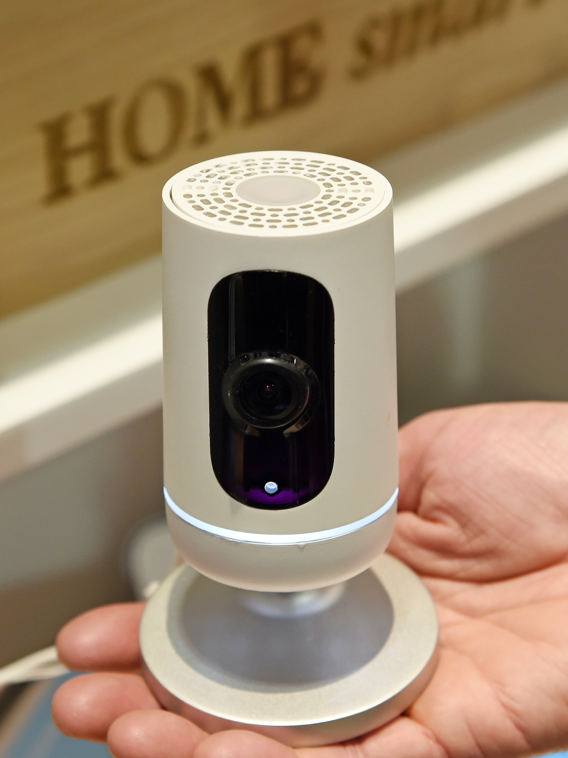 LAS VEGAS, NV - JANUARY 07:  The Vivint Ping Camera is displayed at CES 2016 at the Sands Expo and Convention Center on January 7, 2016 in Las Vegas, Nevada. The Ping, part of the Vivint Sky smart home system, is the world's first two-way talk camera using an integrated microphone and speaker to allow for calls in and out with one touch. Audio and video from the indoor unit can be pushed to a smart device. The Wi-Fi connected Ping features a 140-degree lens and night vision, person detection ability and 24/7 DVR backup of all video it records. CES, the world's largest annual consumer technology trade show, runs through January 9 and features 3,600 exhibitors showing off their latest products and services to more than 150,000 attendees.  (Photo by Ethan Miller/Getty Images)