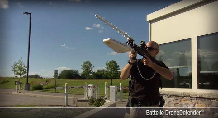 The Battelle DroneDefender takes down a drone using radio waves.