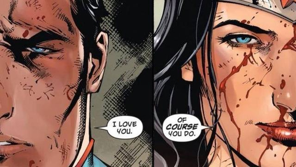 A panel from 'Wonder Woman' depicts Superman confessing his feelings for Diana, who rebuffs him.
