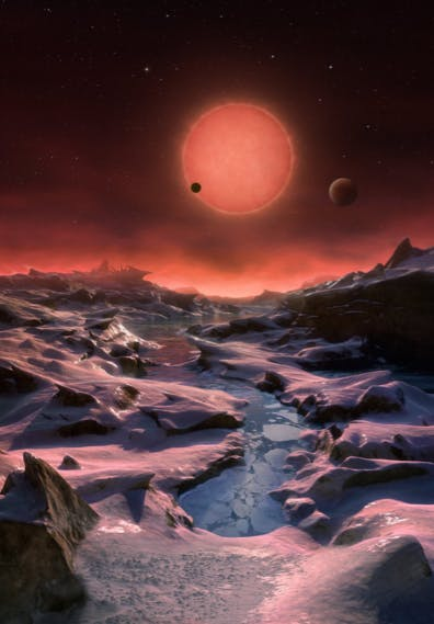 An artist's rendering of TRAPPIST-1 from one of the potentially habitable planets.