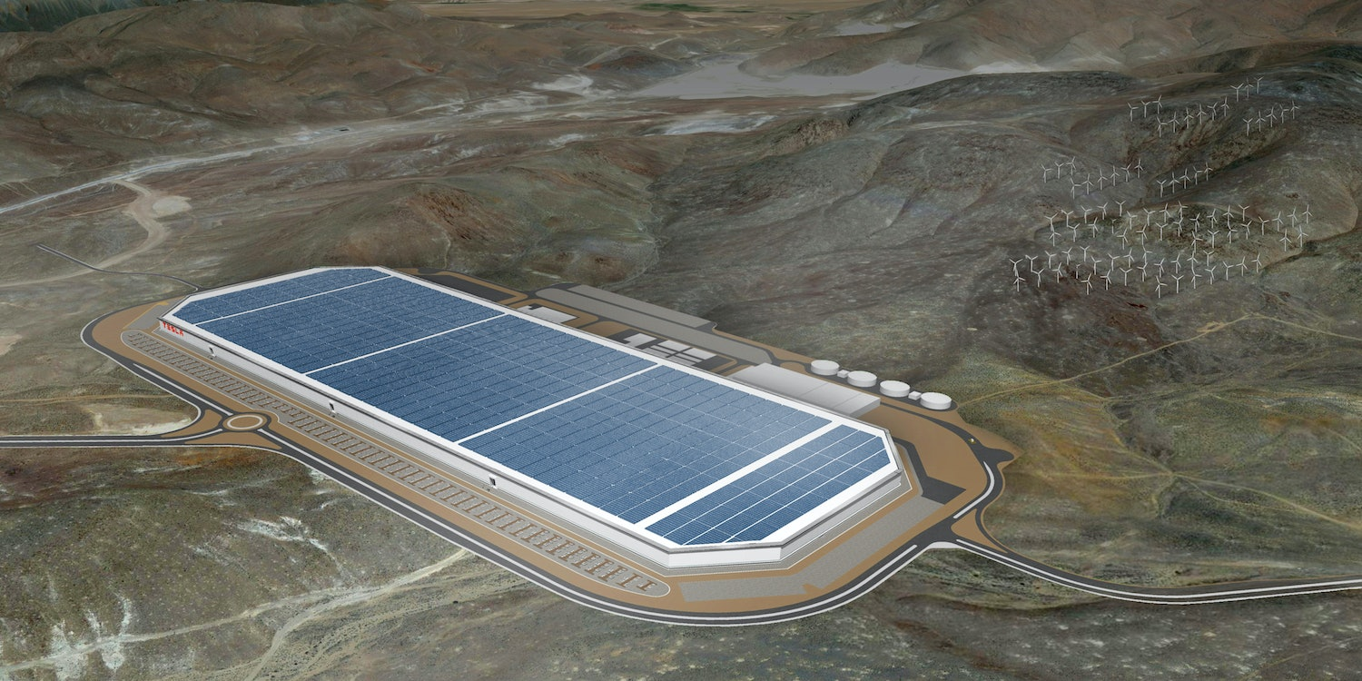A rendering of the finished Gigafactory 1, with its solar-panel-coated roof.