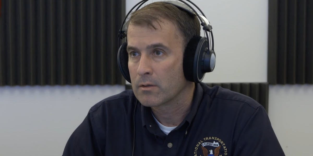 National Transportation Safety Board investigator Brian Young listens to recordings from the crew of the ill-fated El Faro cargo ship.