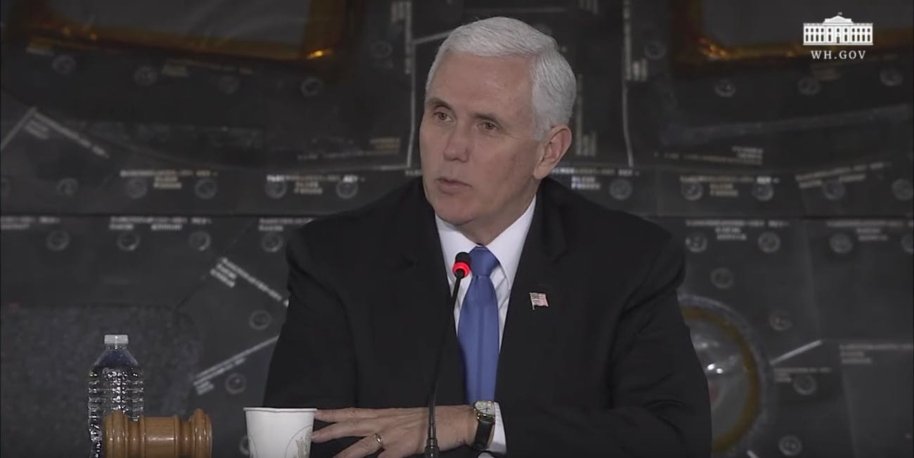 Mike Pence during the round-table discussion at the Second Meeting of the National Space Council.
