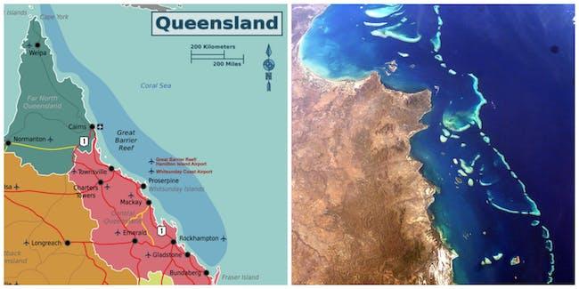 Great Barrier Reef map satellite imagery water Australia coast Coral Sea Pacific Ocean