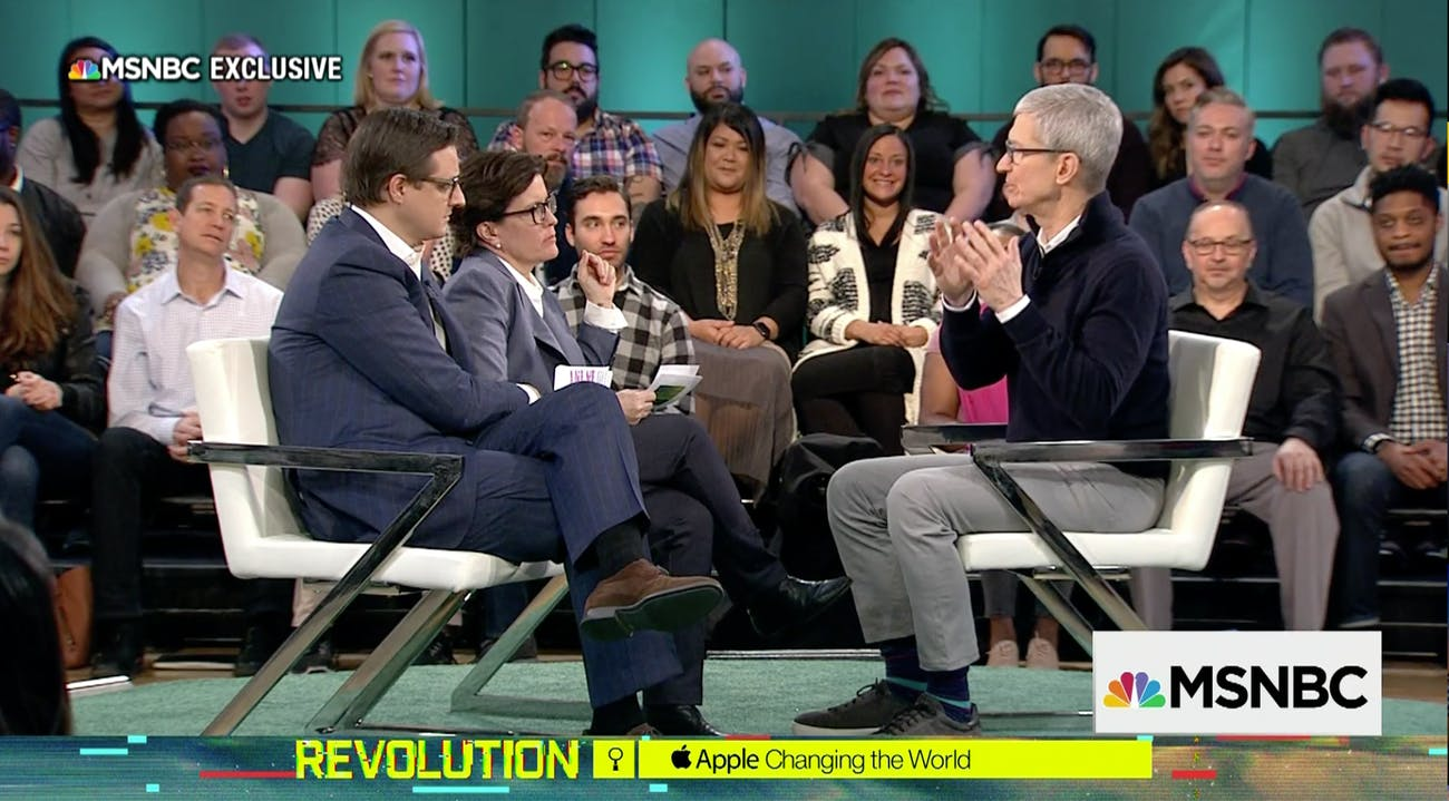 Tim Cook speaking with Kara Swisher.
