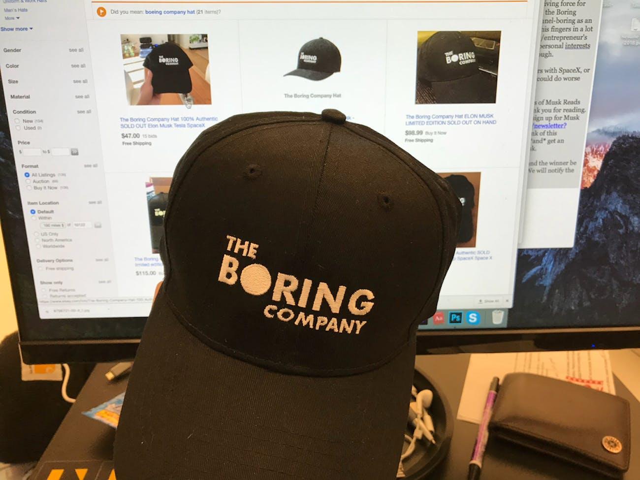 Boring Company Hat at Inverse Dot com
