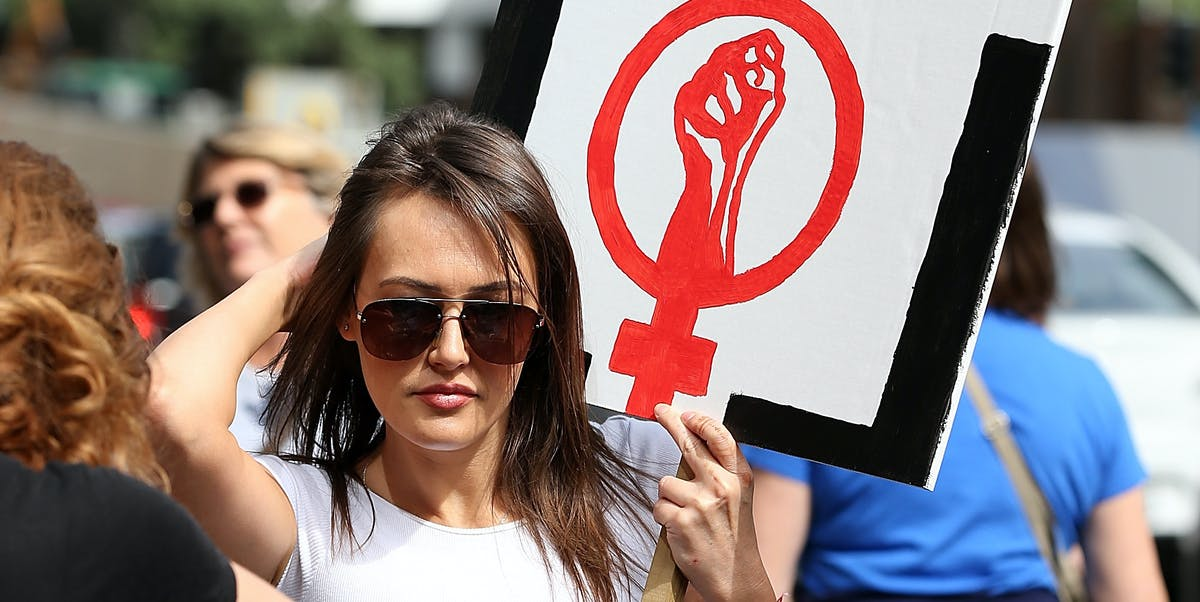 AUCKLAND, NEW ZEALAND - JANUARY 21:  Thousands of people march up Queen Street on January 21, 2017 in Auckland, New Zealand. The marches in New Zealand were organised to show solidarity with those marching on Washington DC and around the world in defense of women's rights and human rights.  (Photo by Fiona Goodall/Getty Images)