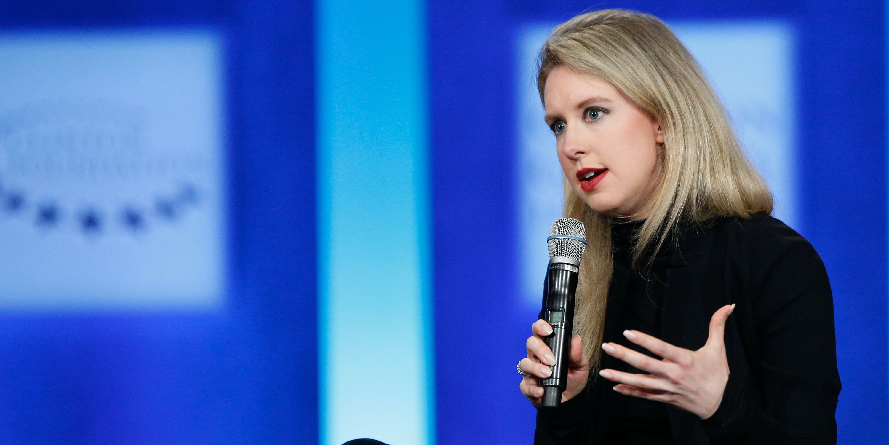 NEW YORK, NY - SEPTEMBER 29: Elizabeth Holmes speaks on stage during the closing session of the Clinton Global Initiative 2015 on September 29, 2015 in New York City.  (Photo by JP Yim/Getty Images)
