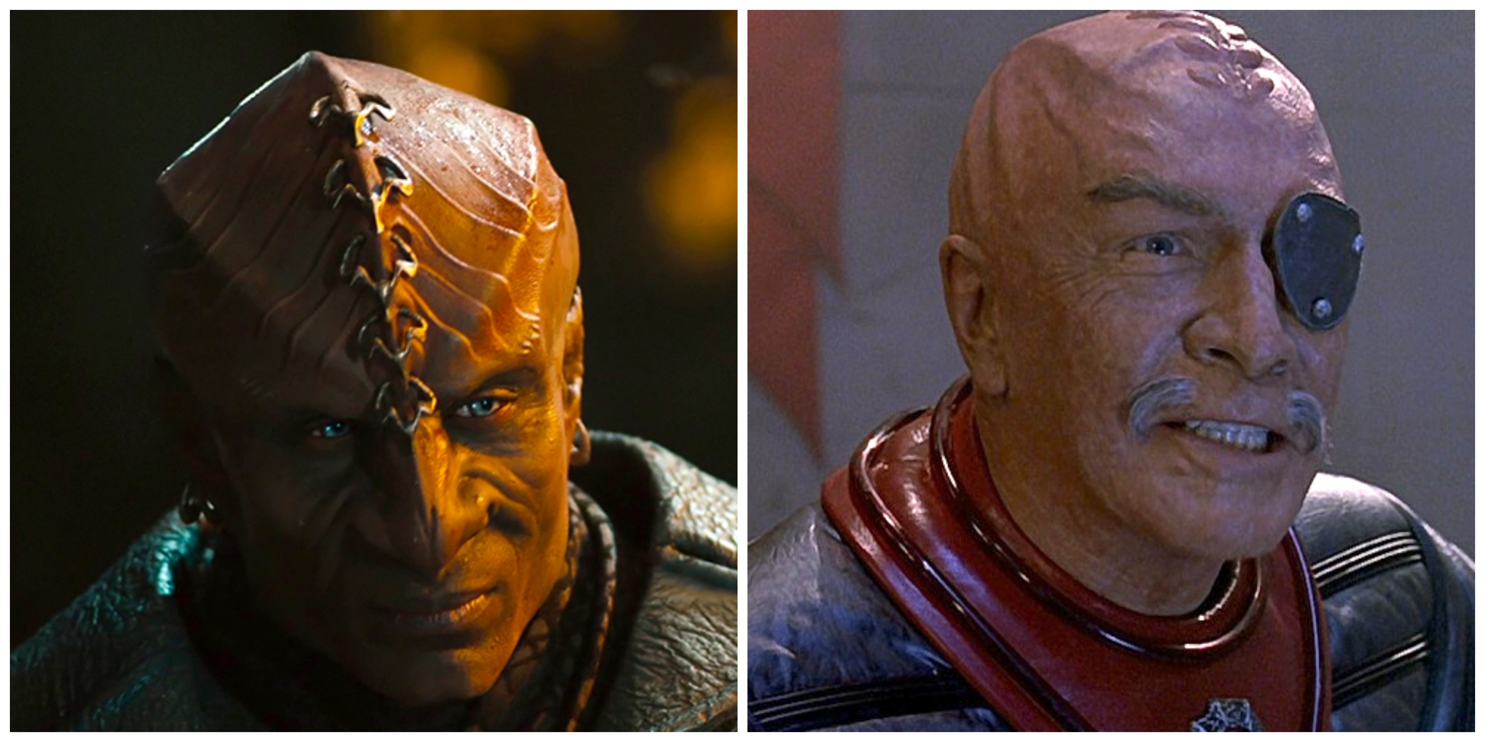 LEFT: 'Star Trek Into Darkness' Klingon. RIGHT: General Chang in 'The Undiscovered Country.'