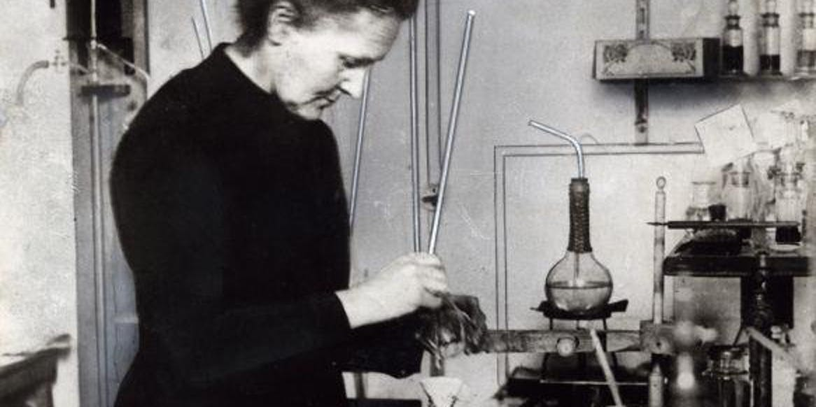 Marie Curie in the lab.