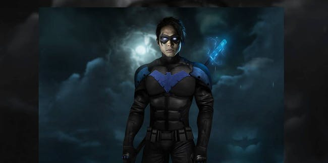 Fan art by spider.monkey23 on Instagram depicting Steven Yeun as Nightwing