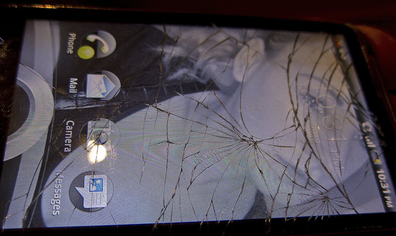 smartphone cracked glass