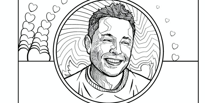elon musk coloring book profile pic