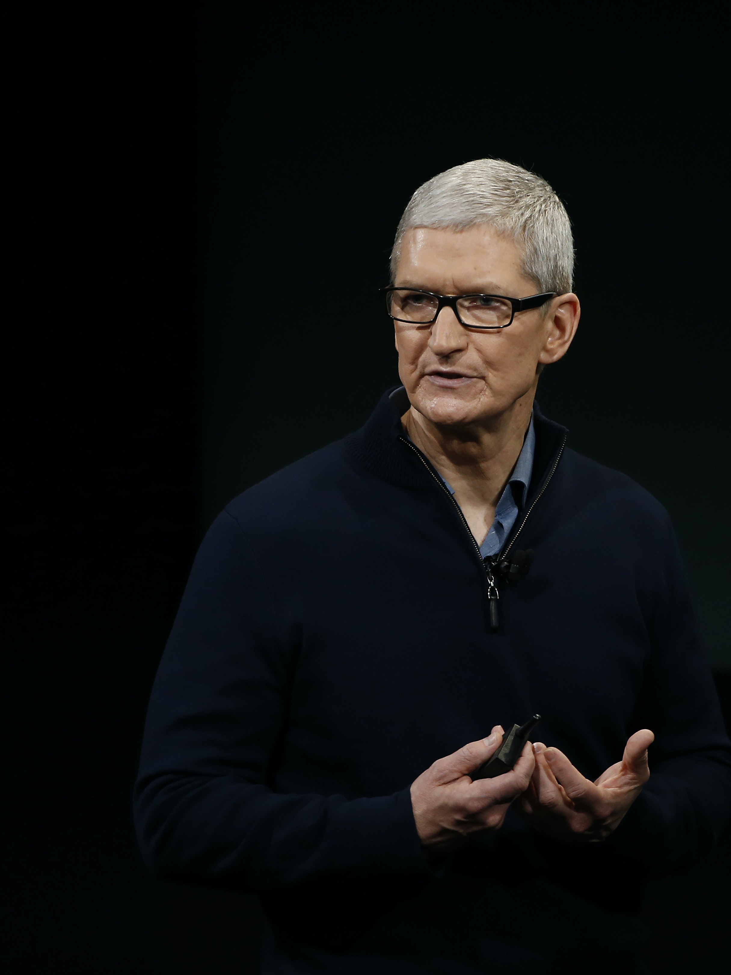 CUPERTINO, CA - OCTOBER 27: Apple CEO Tim Cook speaks on stage during a product launch event on October 27, 2016 in Cupertino, California. Apple Inc. unveiled the latest iterations of its MacBook Pro line of laptops and TV app. (Photo by Stephen Lam/Getty Images)