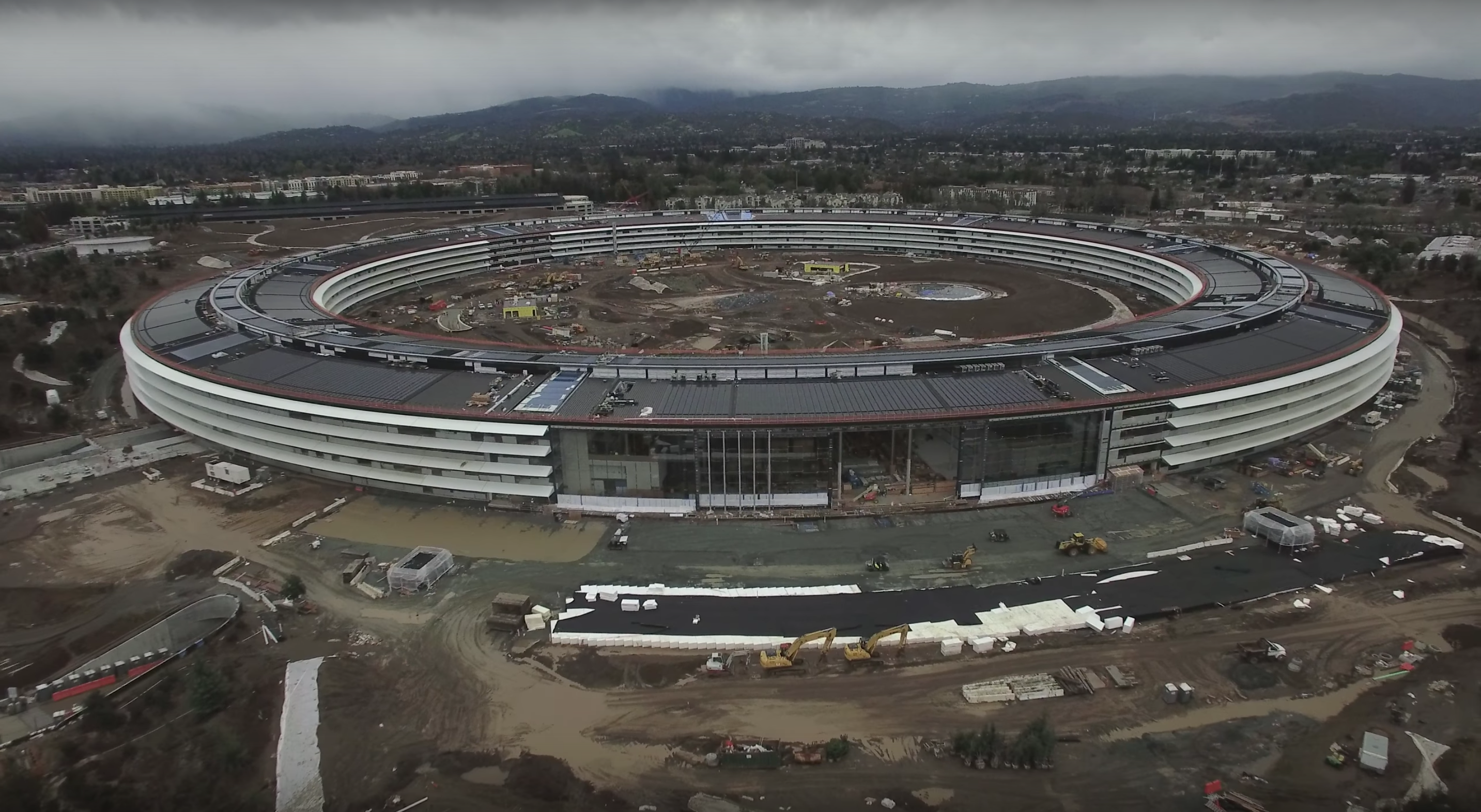 New drone footage shows the construction of Apple Campus 2, which is designed to look like a spaceship.