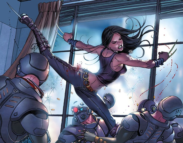 Laura Kinney, aka X-23, slices up some fools in Marvel Comics
