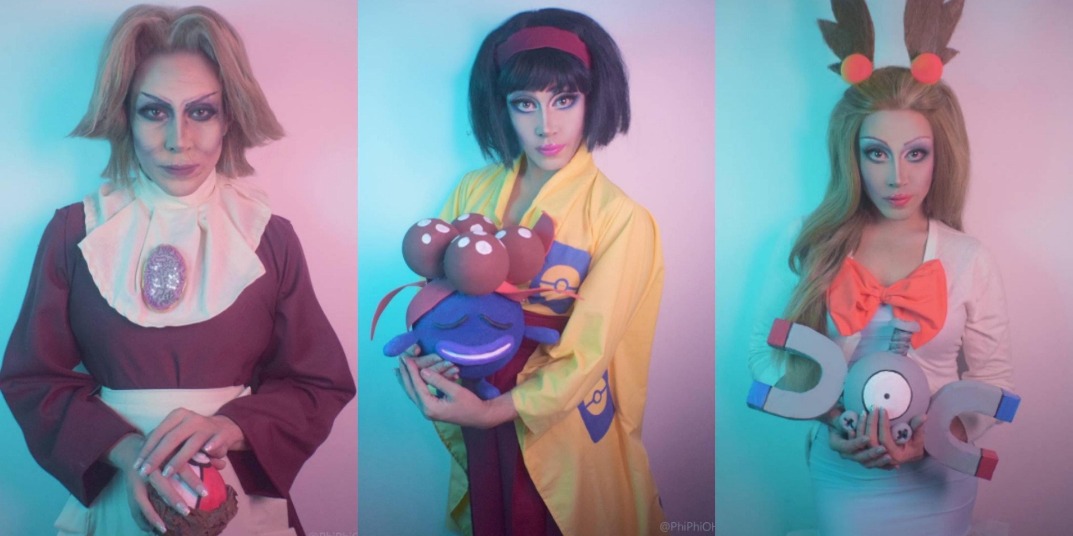 Phi Phi as Agatha, Erika, and Jasmine from 'Pokémon.'