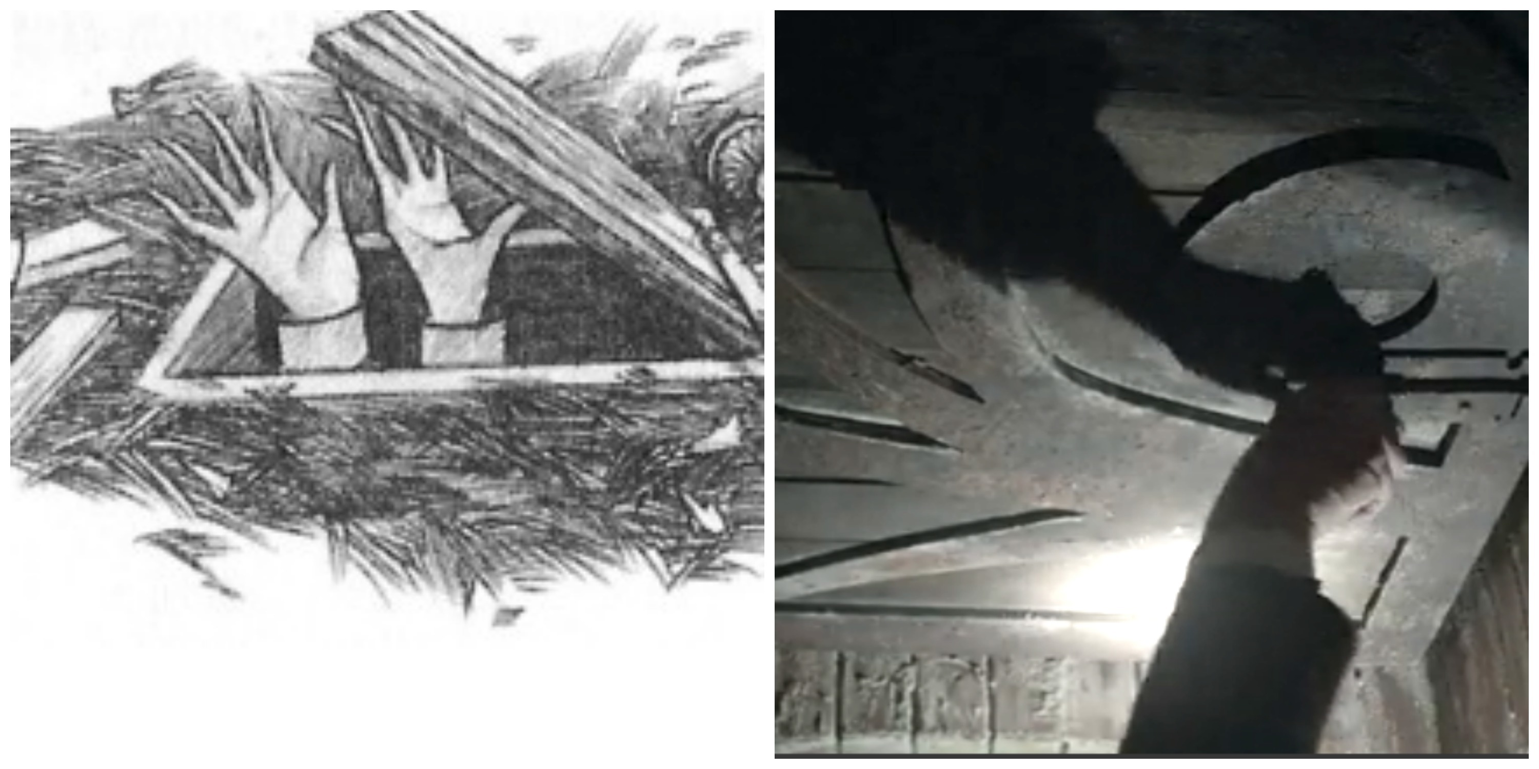 LEFT: Brett Helquist drawing of the trapdoor leading to the mansion. RIGHT: Lemony Snicket opens the trapdoor in the show.