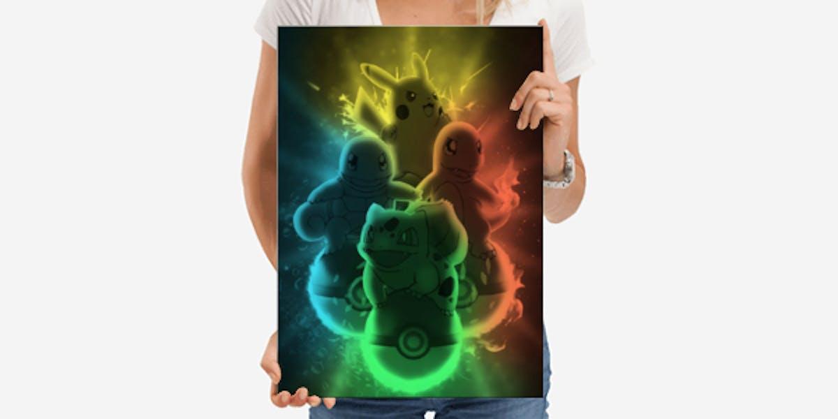 Pikachu, Squirtle, Bulbasaur and Charmander metal print