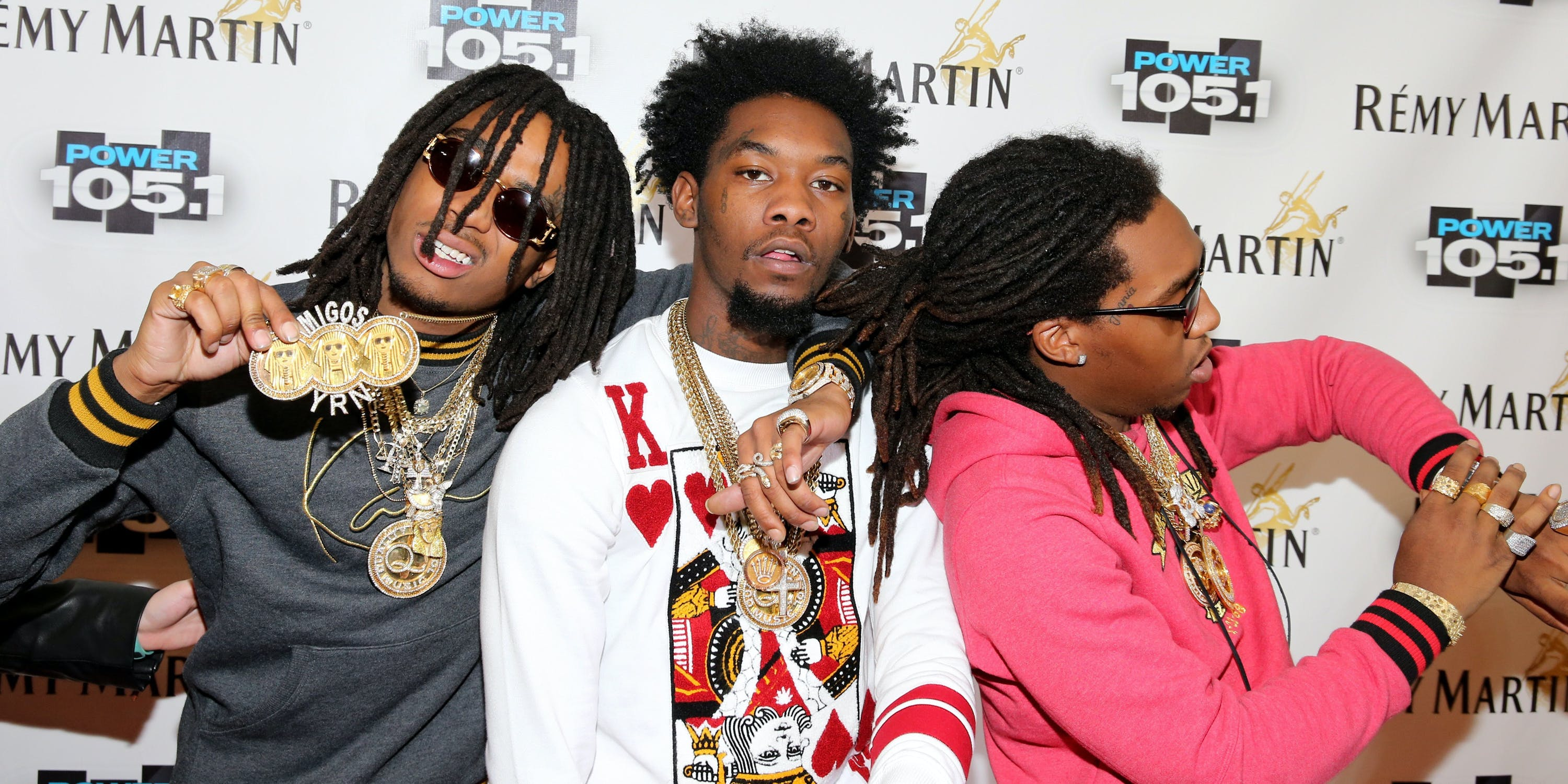 NEW YORK, NY - OCTOBER 30:  (L-R) Kirshnik 'Takeoff' Ball, Kiari 'Offset'? Cephus and Quavious 'Quavo'? Marshall of Migos attend Power 105.1's Powerhouse 2014 at Barclays Center of Brooklyn on October 30, 2014 in New York City.  (Photo by Neilson Barnard/Getty Images for Power 105.1)