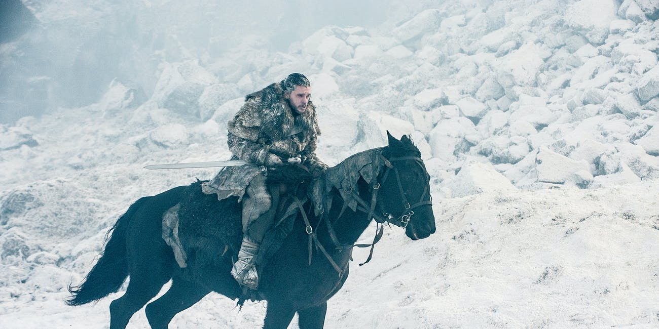 "Kit Harington as Jon Snow in 'Game of Thrones' Season 7  episode 6 ""Beyond the Wall"""