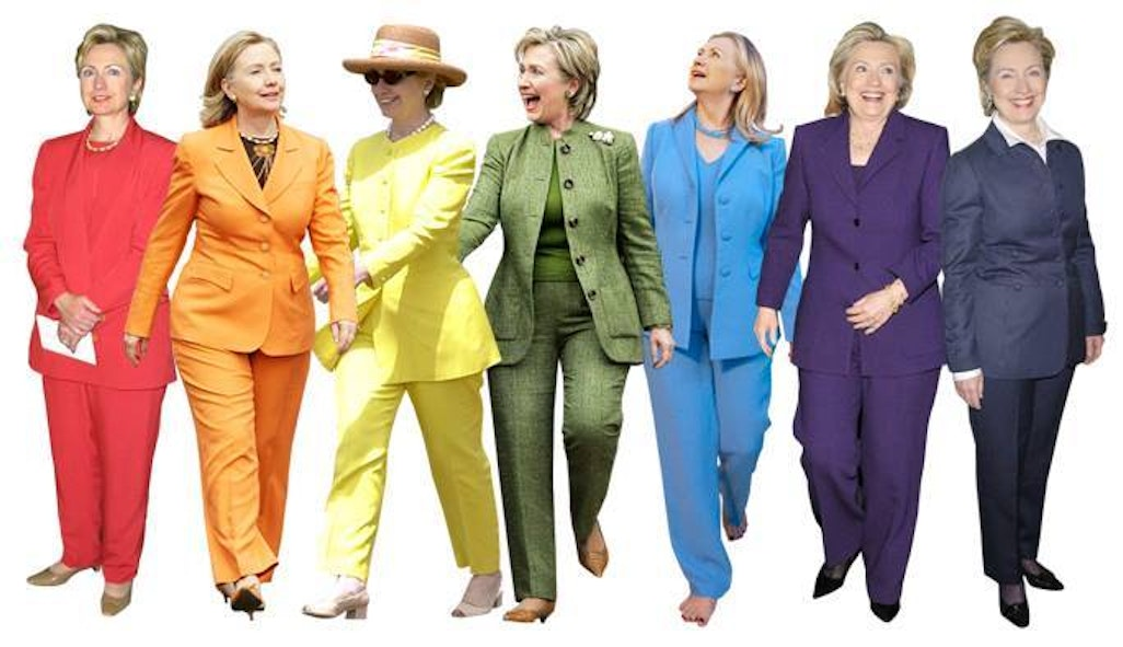 This collage is a popular image on various Pantsuit Nation Facebook groups.