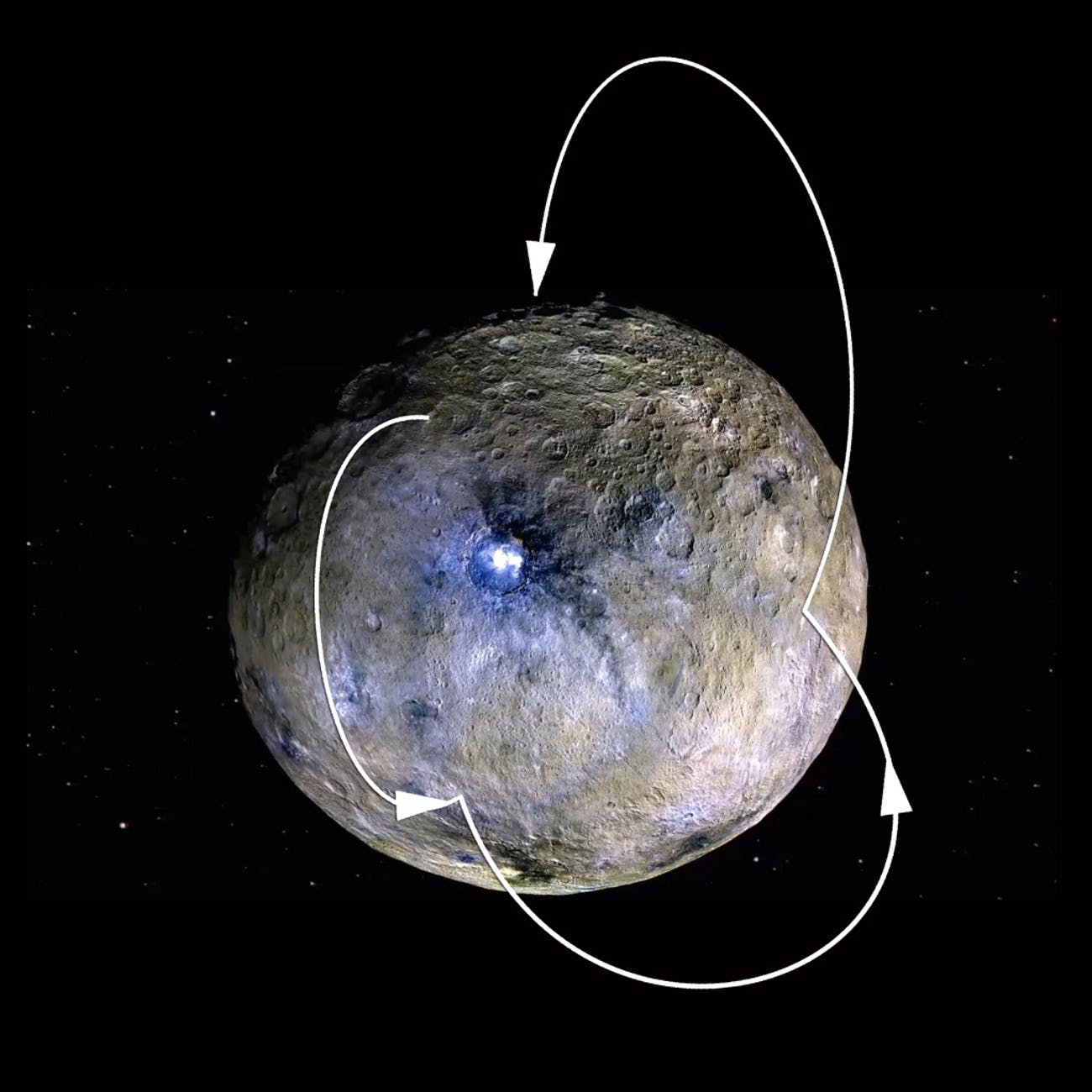 Water at the polar regions on Ceres freezes and becomes trapped.