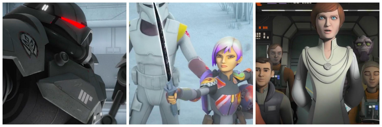 LEFT: Dark Trooper? CENTER: Sabine with the dark saber RIGHT: Mon Mothma Leading the Rebels.