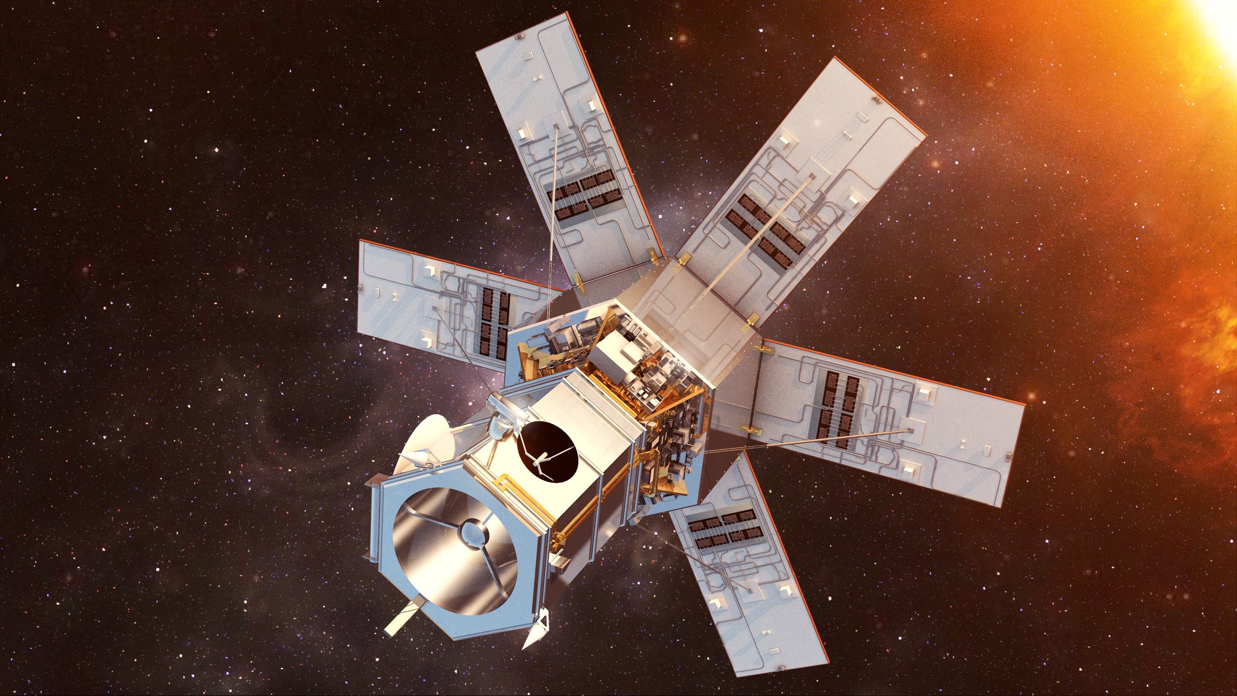 Artist rendition of the WorldView-4 satellite in space.
