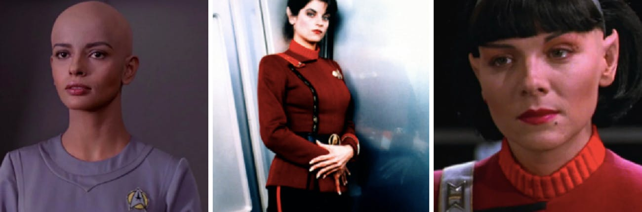 LEFT to RIGHT: Persis Khambatta, Kirstie Alley, and Kim Cattrall. None of these people played the same Star Trek character. (Not pictured: Robin Curtis as the second Saavik)
