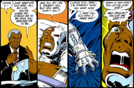 Cyborg, upon seeing his new form, begs to die.
