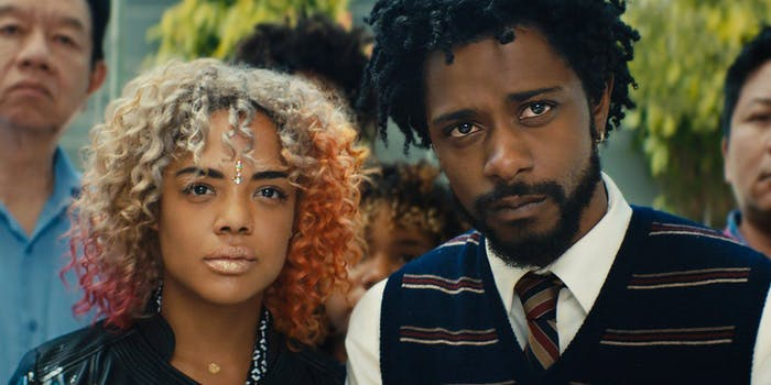 Tessa Thompson and Lakeith Stanfield star in 'Sorry to Bother You'.
