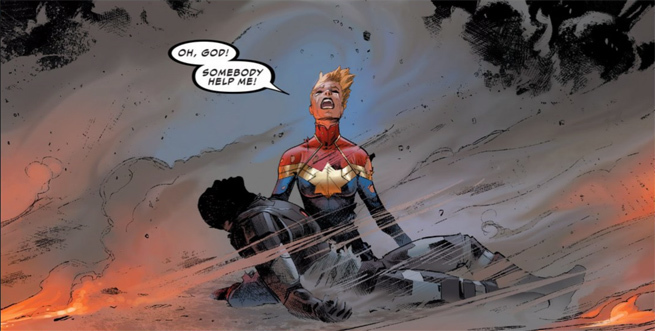 War Machine Dies in Captain Marvel's Arms in Marvel's Civil War II
