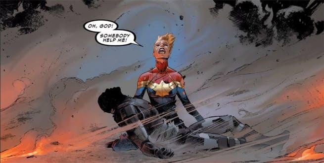 War Machine Dies in Captain Marvel's Arms in Marvel's Civil War II