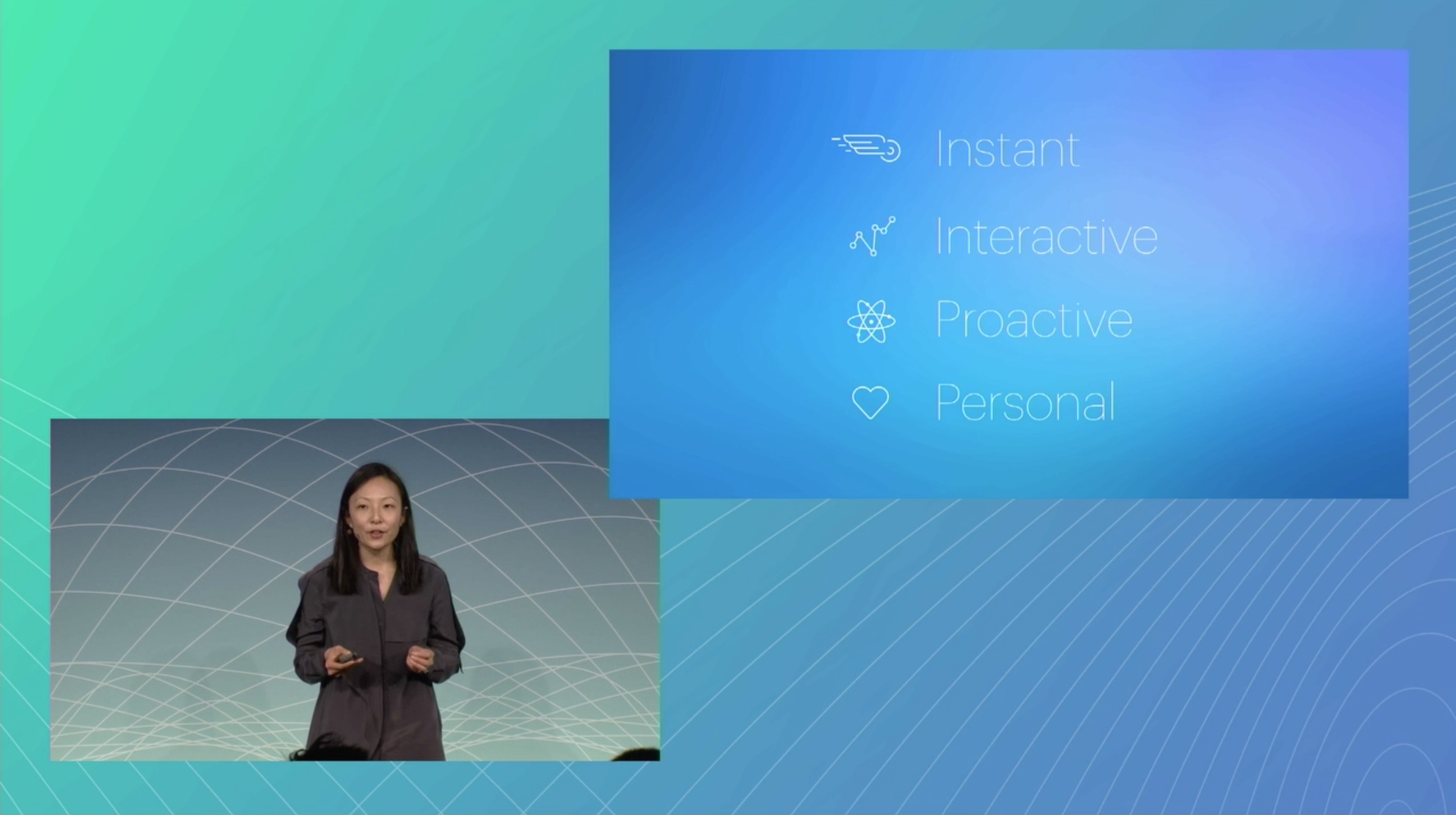 Jessica Lee introducing Messenger's business chatbots at Facebook F8.