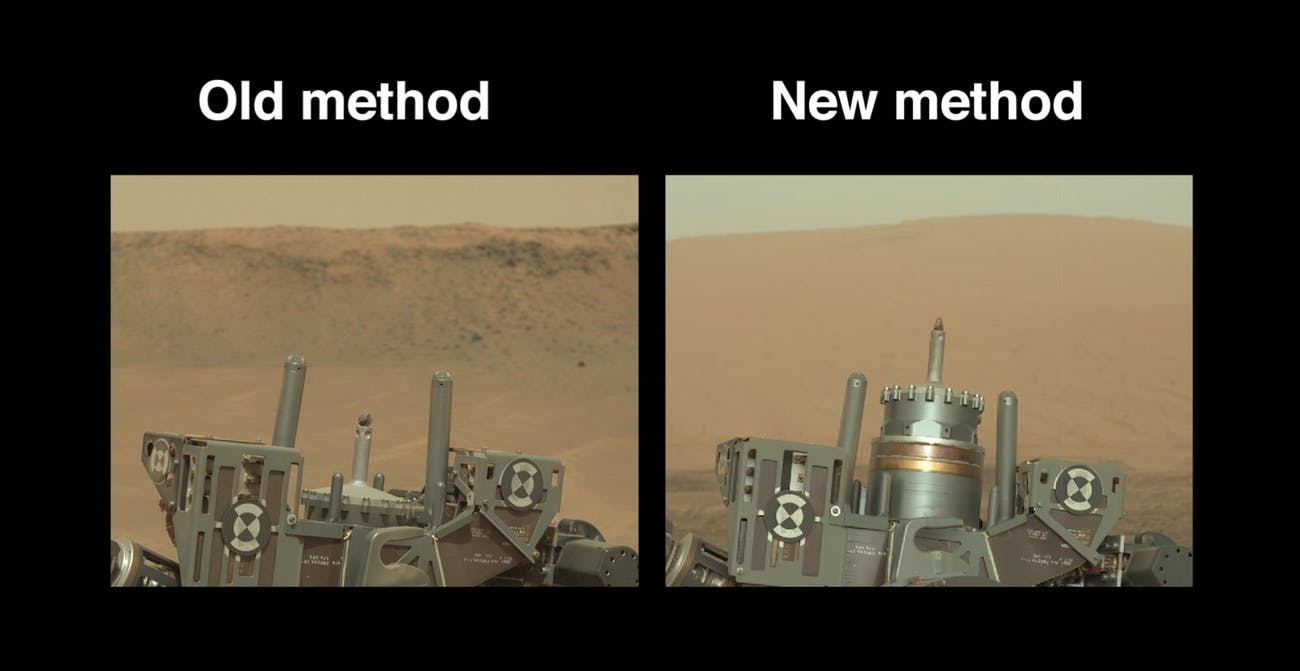 Curiosity's former and current drill mechanism.