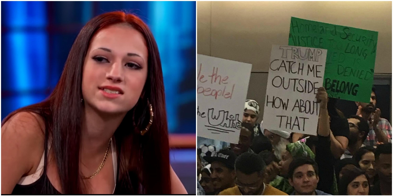 Muslim Ban Protester Swings Cash Me Outside Meme At Donald Trump Inverse