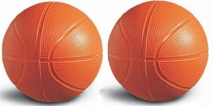 two basketballs