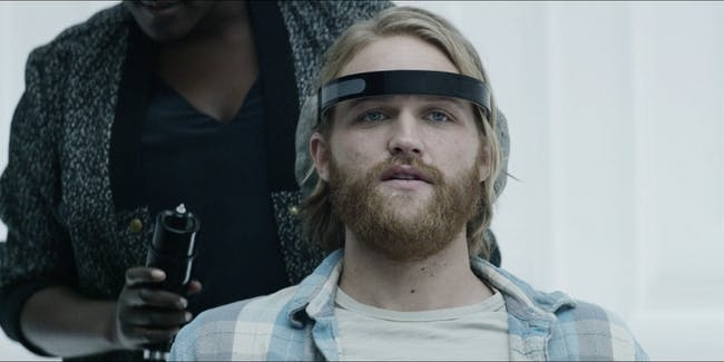 "Wyatt Russell in the 'Black Mirror' Season 3 episode ""Playtest"" directed by Dan Trachtenberg."
