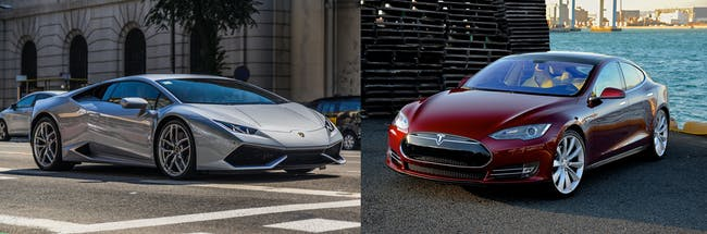 Lamborghini Huracan and Tesla Model S comparison