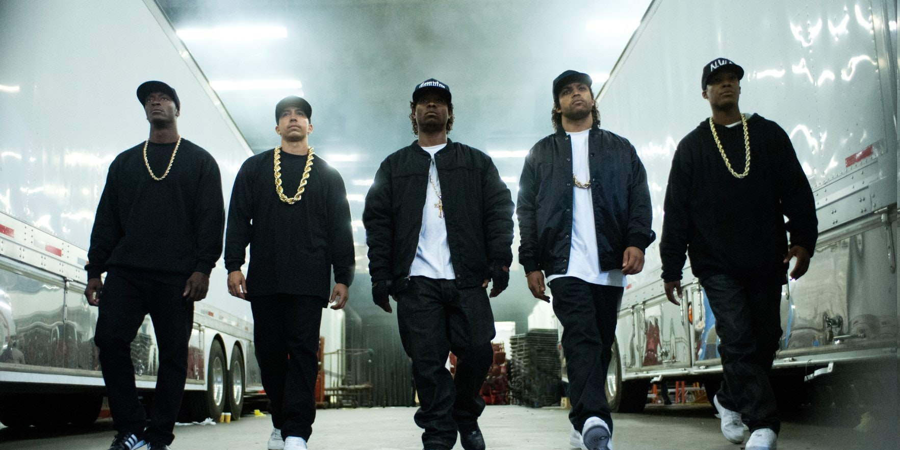 """A movie still from """"Straight Outta Compton."""""""