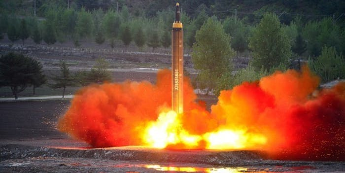 North Korea's Hwasong-12 missile launches.