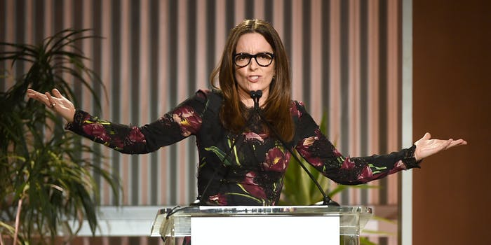 HOLLYWOOD, CA - DECEMBER 07: Honoree Tina Fey speaks onstage during The Hollywood Reporter's Annual Women in Entertainment Breakfast in Los Angeles at Milk Studios on December 7, 2016 in Hollywood, California. (Photo by Kevin Winter/Getty Images for The Hollywood Reporter )