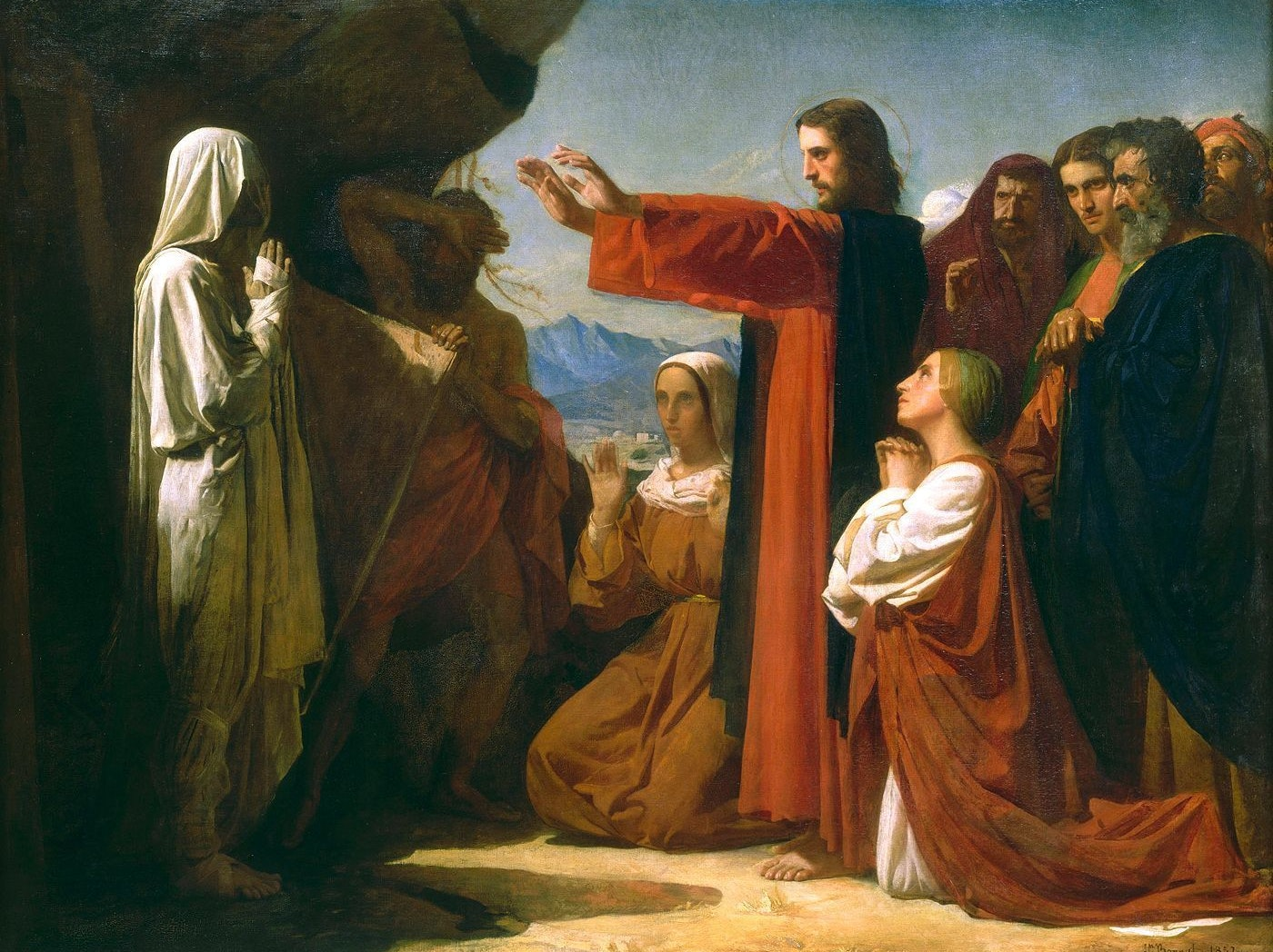 Jesus, calling forth Lazarus from his cave.