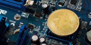 Bitcoin on computer mainboard